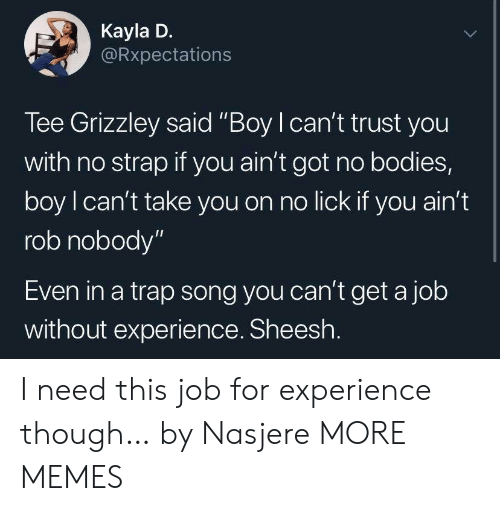 """A Trap: Kayla D.  Rxpectations  Tee Grizzley said """"Boy I can't trust you  with no strap if you ain't got no bodies,  boy l can't take you on no lick if you ain'1t  rob nobody""""  Even in a trap song you can't get a job  without experience. Sheesh I need this job for experience though… by Nasjere MORE MEMES"""