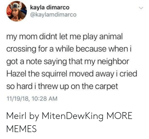 Dank, Memes, and Target: kayla dimarco  @kaylamdimarco  my mom didnt let me play animal  crossing for a while because when i  got a note saying that my neighbor  Hazel the squirrel moved away i cried  so hard i threw up on the carpet  11/19/18, 10:28 AM Meirl by MitenDewKing MORE MEMES