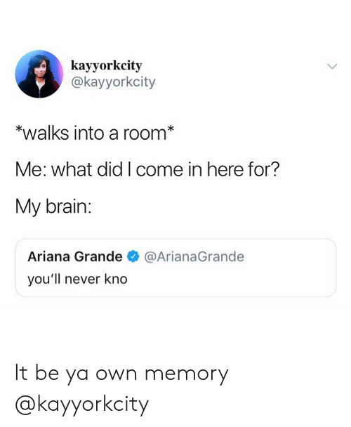Girl Memes: kayyorkcity  @kayyorkcity  *walks into a room  Me: what did I come in here for?  My brain:  Ariana Grande@ArianaGrande  you'll never kno It be ya own memory @kayyorkcity