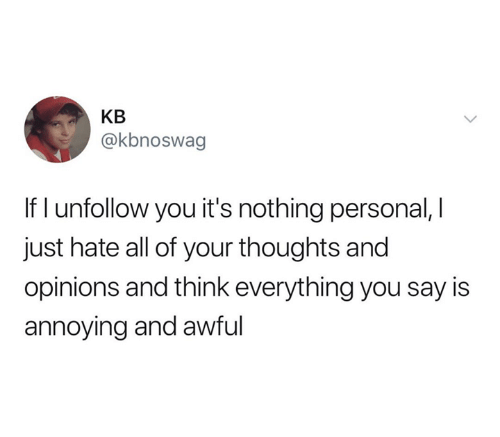 Memes, Annoying, and 🤖: KB  @kbnoswag  If I unfollow you it's nothing personal, I  just hate all of your thoughts and  opinions and think everything you say is  annoying and awful