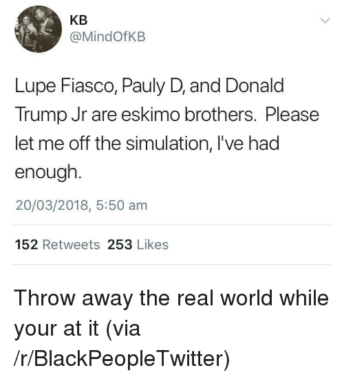 Blackpeopletwitter, Donald Trump, and The Real: KB  @MindOfKB  Lupe Fiasco, Pauly D, and Donald  Trump Jr are eskimo brothers. Please  let me off the simulation, l've had  enough  20/03/2018, 5:50 am  152 Retweets 253 Likes <p>Throw away the real world while your at it (via /r/BlackPeopleTwitter)</p>