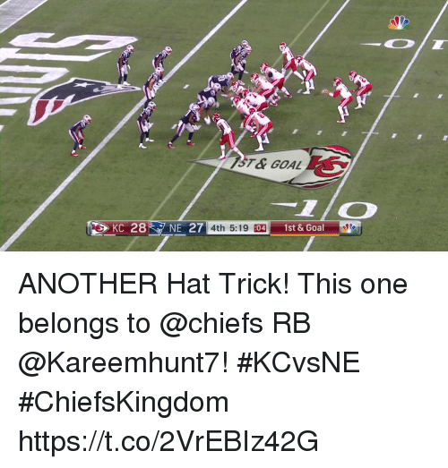 coeds: KC 28NE 27  4th 5:19 :  04  1st & Goal ANOTHER Hat Trick!  This one belongs to @chiefs RB @Kareemhunt7! #KCvsNE #ChiefsKingdom https://t.co/2VrEBIz42G