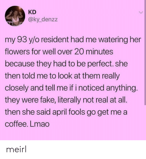 April Fools: KD  @ky_denzz  my 93 y/o resident had me watering her  flowers for well over 20 minutes  because they had to be perfect. she  then told me to look at them really  closely and tell me if i noticed anything  they were fake, literally not real at all.  then she said april fools go get me a  coffee. Lmao meirl