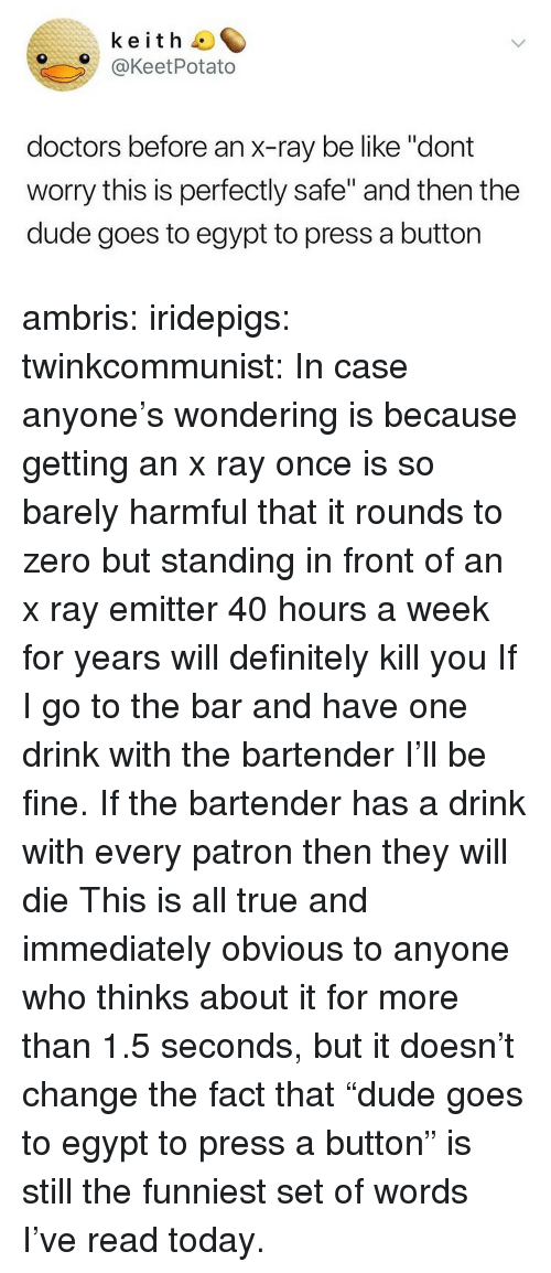 "One Drink: keith O  O@KeetPotato  doctors before an x-ray be like ""dont  worry this is perfectly safe"" and then the  dude goes to egypt to press a button ambris:  iridepigs:  twinkcommunist: In case anyone's wondering is because getting an x ray once is so barely harmful that it rounds to zero  but standing in front of an x ray emitter 40 hours a week for years will definitely kill you  If I go to the bar and have one drink with the bartender I'll be fine. If the bartender has a drink with every patron then they will die   This is all true and immediately obvious to anyone who thinks about it for more than 1.5 seconds, but it doesn't change the fact that ""dude goes to egypt to press a button"" is still the funniest set of words I've read today."