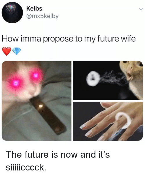 Future Wife: Kelbs  @mx5kelby  How imma propose to my future wife The future is now and it's siiiiicccck.