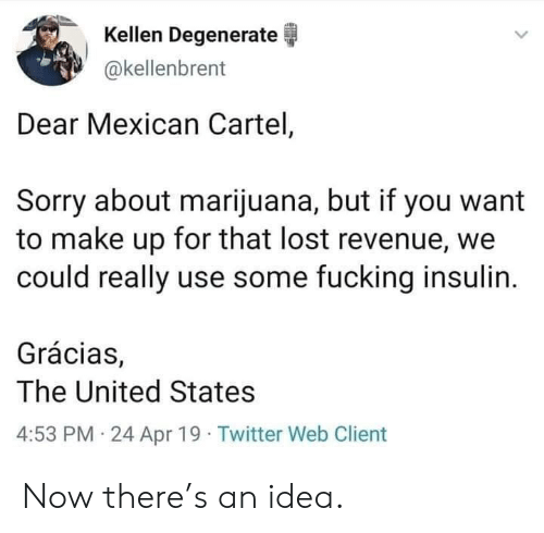 insulin: Kellen Degenerate  akellenbrent  Dear Mexican Cartel,  Sorry about marijuana, but if you want  to make up for that lost revenue, we  could really use some fucking insulin.  Grácias,  The United States  4:53 PM 24 Apr 19 Twitter Web Client Now there's an idea.