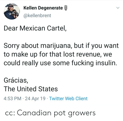 insulin: Kellen Degenerate  @kellenbrent  Dear Mexican Cartel,  Sorry about marijuana, but if you want  to make up for that lost revenue, we  could really use some fucking insulin  Grácias,  The United States  4:53 PM 24 Apr 19 Twitter Web Client cc: Canadian pot growers