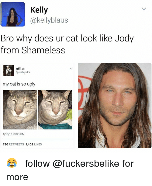Memes, 🤖, and Kelly Kelly: Kelly  @kelly blaus  Bro why does ur cat look like Jody  from Shameless  gillian  @watrprks  my cat is so ugly  1/13/17, 3:03 PM  736  RETWEETS  1,402  LIKES 😂 | follow @fuckersbelike for more