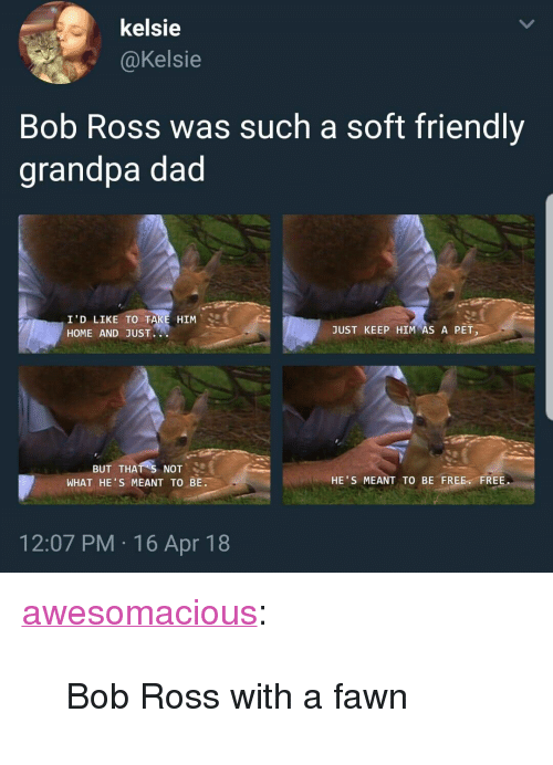 """Dad, Tumblr, and Grandpa: kelsie  @Kelsie  Bob Ross was such a soft friendly  grandpa dad  I'D LIKE TO TAKE HIM  HOME AND JUST.  JUST KEEP HIM""""AS A PET」  BUT THATS NOT.  WHAT HE'S MEANT TO BE  TO BE FREE FREE  HE'S MEANT  12:07 PM 16 Apr 18 <p><a href=""""http://awesomacious.tumblr.com/post/173496961491/bob-ross-with-a-fawn"""" class=""""tumblr_blog"""">awesomacious</a>:</p>  <blockquote><p>Bob Ross with a fawn</p></blockquote>"""