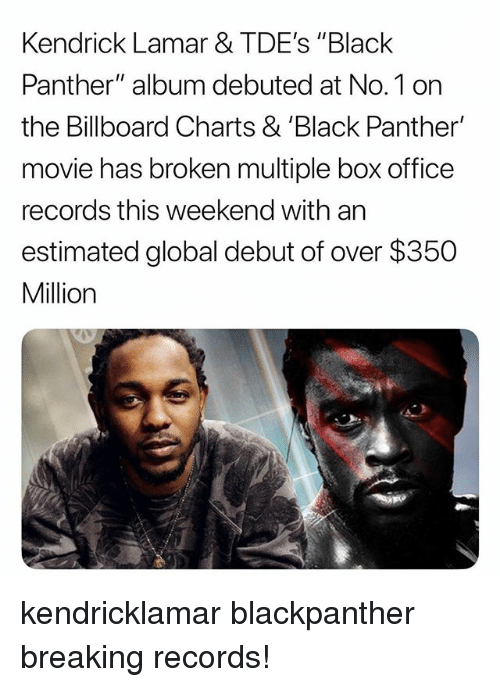 """Billboard, Kendrick Lamar, and Memes: Kendrick Lamar & TDE's """"Black  Panther"""" album debuted at No.1 on  the Billboard Charts & 'Black Panther'  movie has broken multiple box office  records this weekend with an  estimated global debut of over $350  Million kendricklamar blackpanther breaking records!"""