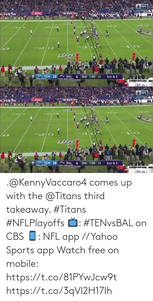 Comes: .@KennyVaccaro4 comes up with the @Titans third takeaway. #Titans #NFLPlayoffs  📺: #TENvsBAL on CBS 📱: NFL app // Yahoo Sports app Watch free on mobile: https://t.co/81PYwJcw9t https://t.co/3qVI2H17Ih