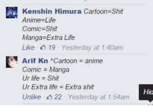 Animals, Anime, and Dank: Kenshin Himura Cartoon-Shit  Anime-Life  Comic Shiite  Manga Extra Life  Like 19 Yesterday at 1:40am  E Arif Kn Cartoon anime  Comic Manga  Ur life Shit  Ur Extra life Extra shit  Unlike 22 Yesterday at 1.54am  Hida
