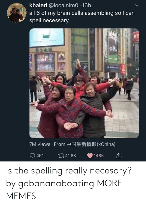 Views From: khaled @localnimO 16h  all 6 of my brain cells assembling so I can  spell necessary  7M views . From中国最新情報(XChina) Is the spelling really necesary? by gobananaboating MORE MEMES