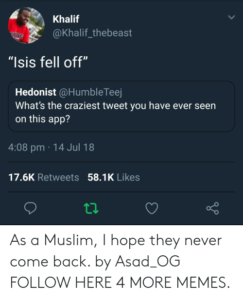 """Hopee: Khalif  @Khalif_thebeast  """"Isis fell off""""  Hedonist @HumbleTeej  What's the craziest tweet you have ever seen  on this app?  4:08 pm 14 Jul 18  17.6K Retweets 58.1K Likes As a Muslim, I hope they never come back. by Asad_OG FOLLOW HERE 4 MORE MEMES."""
