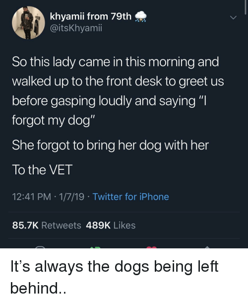 """Gasping: khyamii from 79th  @itsKhyamii  So this lady came in this morning and  walked up to the front desk to greet us  before gasping loudly and saying """"I  forgot my dog""""  She forgot to bring her dog with her  To the VET  12:41 PM 1/7/19 Twitter for iPhone  85.7K Retweets 489K Likes It's always the dogs being left behind.."""
