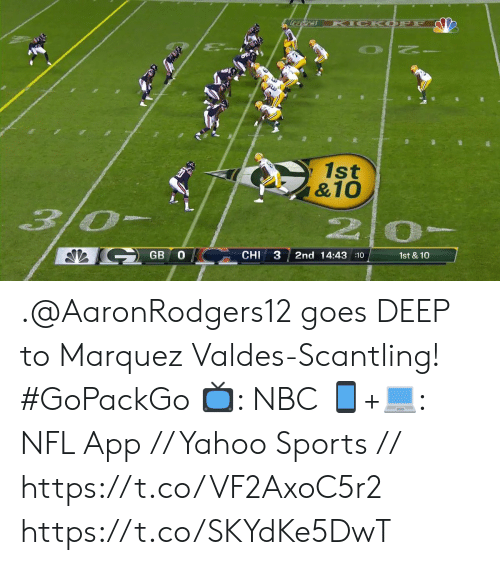 Marquez: KICK OFF  1st  &10  3/0-  2 0-  GB O  CHI  2nd 14:43 :10  1st & 10  3 .@AaronRodgers12 goes DEEP to Marquez Valdes-Scantling! #GoPackGo  📺: NBC  📱+💻: NFL App // Yahoo Sports // https://t.co/VF2AxoC5r2 https://t.co/SKYdKe5DwT