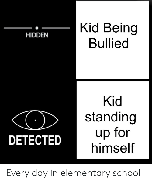 School, Elementary, and Hidden: Kid Being  Bullied  HIDDEN  Kid  standing  up for  himself  DETECTED Every day in elementary school