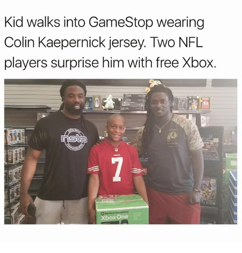 Colin Kaepernick, Gamestop, and Memes: Kid walks into GameStop wearing  Colin Kaepernick jersey. Two NFL  players surprise him with free Xbox.  呱