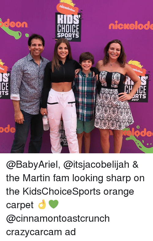 Fam, Martin, and Memes: KIDS  CHOICE  eon  nicrelode  SPORTS  017  CE  TS  URTS  2017  ode  ode  0  20 @BabyAriel, @itsjacobelijah & the Martin fam looking sharp on the KidsChoiceSports orange carpet 👌💚 @cinnamontoastcrunch crazycarcam ad