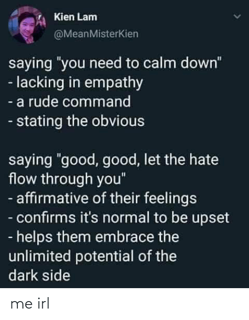 "Rude, Empathy, and Good: Kien Lam  @MeanMisterKien  saying ""you need to calm down""  - lacking in empathy  - a rude command  - stating the obvious  saying ""good, good, let the hate  flow through you""  - affirmative of their feelings  - confirms it's normal to be upset  - helps them embrace the  unlimited potential of the  dark side me irl"