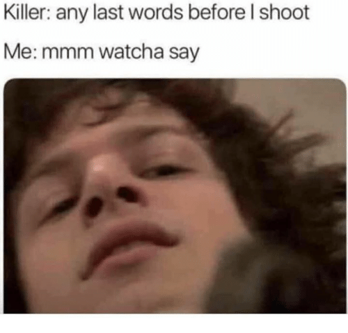 Memes, Last Words, and 🤖: Killer: any last words before l shoot  Me: mmm watcha say