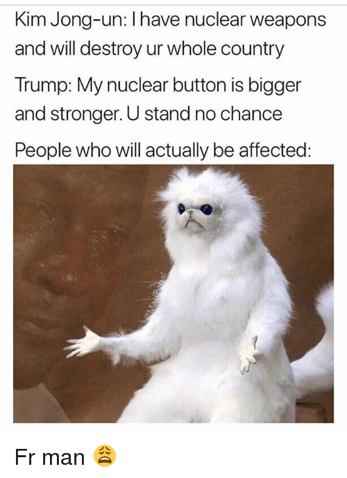 Funny, Kim Jong-Un, and Trump: Kim Jong-un: I have nuclear weapons  and will destroy ur whole country  Trump: My nuclear button is bigger  and stronger. U stand no chance  People who will actually be affected Fr man 😩