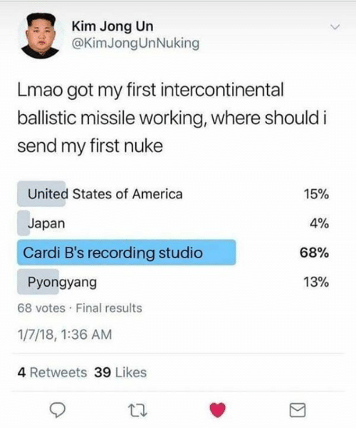 America, Kim Jong-Un, and Lmao: Kim Jong Un  @KimJongUnNuking  Lmao got my first intercontinental  ballistic missile working, where should i  send my first nuke  United States of America  15%  4%  Japan  Cardi B's recording studio  68%  13%  Pyongyang  68 votes Final results  1/7/18, 1:36 AM  4 Retweets 39 Likes