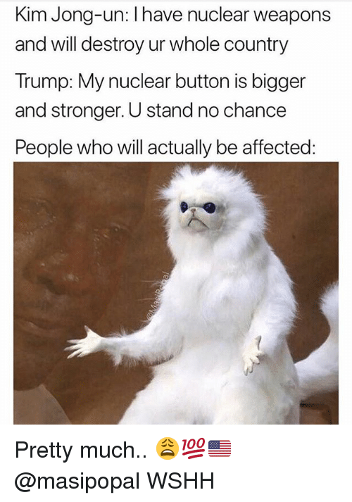 Kim Jong-Un, Memes, and Wshh: Kim Jong-un: l have nuclear weapons  and will destroy ur whole country  Trump: My nuclear button is bigger  and stronger. U stand no chance  People who will actually be affected Pretty much.. 😩💯🇺🇸 @masipopal WSHH