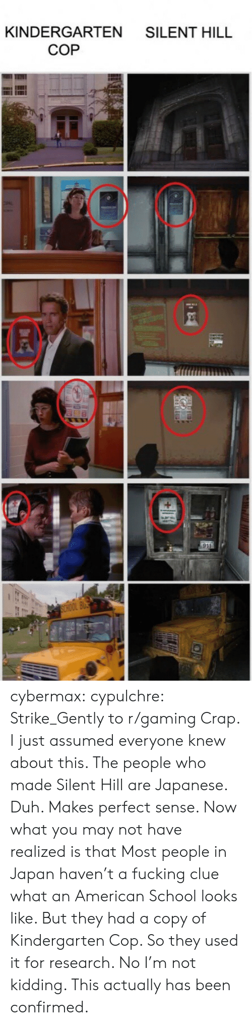 Fucking, Reddit, and School: KINDERGARTEN SILENT HILL  COP cybermax:  cypulchre:   Strike_Gently to r/gaming   Crap. I just assumed everyone knew about this. The people who made Silent Hill are Japanese. Duh. Makes perfect sense. Now what you may not have realized is that Most people in Japan haven't a fucking clue what an American School looks like. But they had a copy of Kindergarten Cop. So they used it for research. No I'm not kidding. This actually has been confirmed.