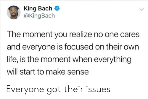 no one cares: King Bach  @KingBach  The moment you realize no one cares  and everyone is focused on their own  life, is the moment when everything  will start to make sense Everyone got their issues
