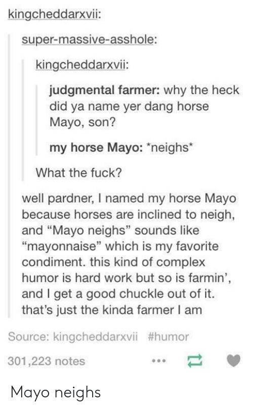 """my horse: kingcheddarxvii:  super-massive-asshole:  kingcheddarxvii:  judgmental farmer: why the heck  did ya name yer dang horse  Mayo, son?  my horse Mayo: *neighs*  What the fuck?  well pardner, I named my horse Mayo  because horses are inclined to neigh,  and """"Mayo neighs"""" sounds like  """"mayonnaise"""" which is my favorite  condiment. this kind of complex  humor is hard work but so is farmin  and I get a good chuckle out of it  that's just the kinda farmer I am  Source: kingcheddarxvii #humor  301,223 notes Mayo neighs"""