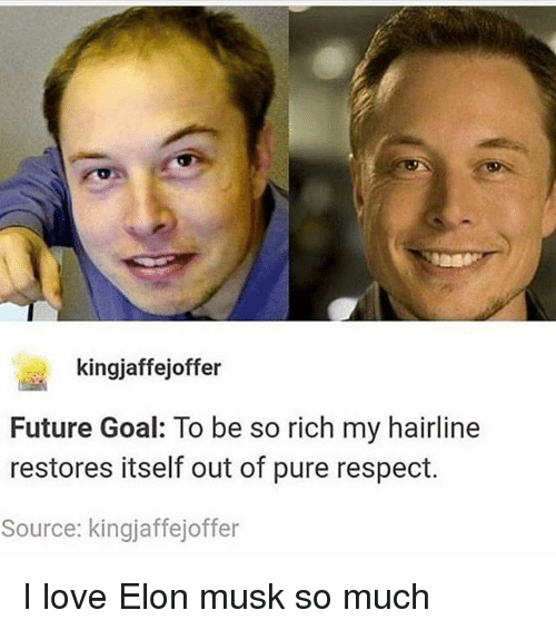 Future, Hairline, and Ironic: kingjaffejoffer  Future Goal: To be so rich my hairline  restores itself out of pure respect.  Source: kingjaffejoffer I love Elon musk so much