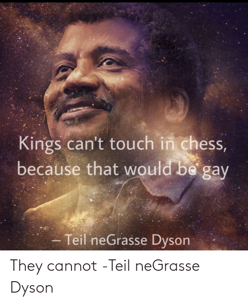 That Would Be: Kings can't touch in chess,  because that would be gay  Teil neGrasse Dyson They cannot -Teil neGrasse Dyson