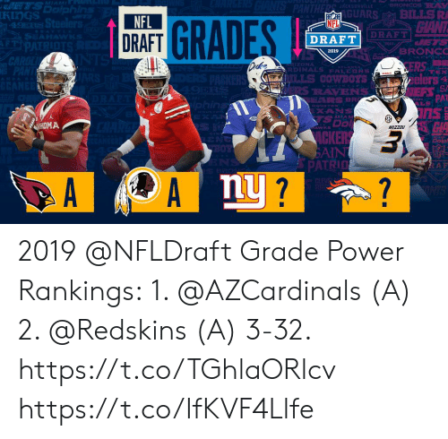Memes, Nfl, and NFL Draft: KIngS  GUARS BILLSR  NFL  DRAFT  GRAD  NFL  DRAFT  DRAFT  ZONA  RDINALS PALCDNs  ders  PAT  RAVENS  LS  HOMA  AWKS  MizzOU  AIN  PATRIn  nU 2019 @NFLDraft Grade Power Rankings:  1. @AZCardinals (A) 2. @Redskins (A) 3-32. https://t.co/TGhlaORlcv https://t.co/IfKVF4Llfe
