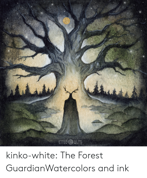 the forest: kinko-white:  The Forest GuardianWatercolors and ink