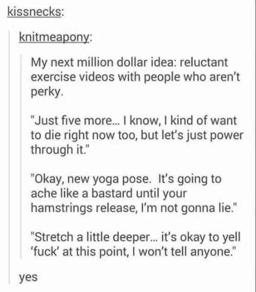 "Videos, Exercise, and Fuck: kissnecks:  knitmeapony:  My next million dollar idea: reluctant  exercise videos with people who aren't  perky.  ""Just five more... I know, I kind of want  to die right now too, but let's just power  through it.""  ""Okay, new yoga pose. It's going to  ache like a bastard until your  hamstrings release, I'm not gonna lie.""  ""Stretch a little deeper... it's okay to yell  'fuck' at this point, I won't tell anyone.""  yes"