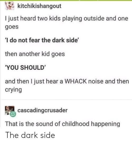 Crying, Kids, and Fear: kitchikishangout  I just heard two kids playing outside and one  goes  do not fear the dark side'  then another kid goes  'YOU SHOULD  and then I just hear a WHACK noise and then  crying  cascadingcrusader  That is the sound of childhood happening The dark side
