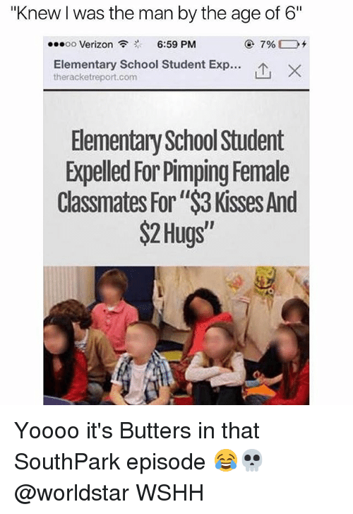 """expelled: """"Knew Iwas the man by the age of 6""""  ...oo Verizon  6:59 PM  Elementary School Student Exp...  ther acketreport.com  Elementary School Student  Expelled For Pimping Female  Classmates For""""$3 Kisses And  $2 Hugs Yoooo it's Butters in that SouthPark episode 😂💀 @worldstar WSHH"""