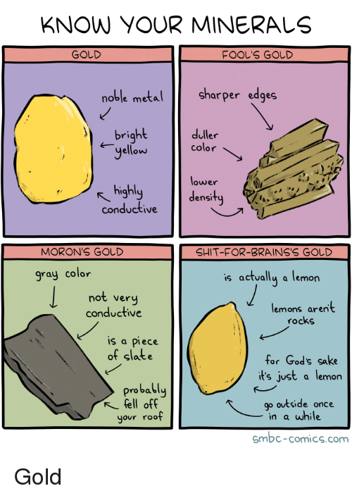 minerals: KNOW YOUR MINERALS  GOLD  FOOL'S GOLD  oble meta  Sharper edges  bright  duller  yellow color  lower  density  highl  conductive  MORON'S GOD  SHIT-FOR-BRAINS'S GOしD  gray color  s actually a lemon  not very  conductive  lemons aren't  rocks  is a piece  of slate  for God's sake  it's just a lemon  probably  fell off  your roof  go outside once  in a while  smbc-comics.com Gold