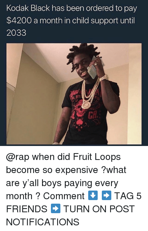 fruit loops: Kodak Black has been ordered to pay  $4200 a month in child support until  2033  L, AM @rap when did Fruit Loops become so expensive ?what are y'all boys paying every month ? Comment ⬇️ ➡️ TAG 5 FRIENDS ➡️ TURN ON POST NOTIFICATIONS