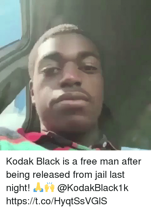 Jail, Black, and Free: Kodak Black is a free man after being released from jail last night! 🙏🙌 @KodakBlack1k https://t.co/HyqtSsVGlS