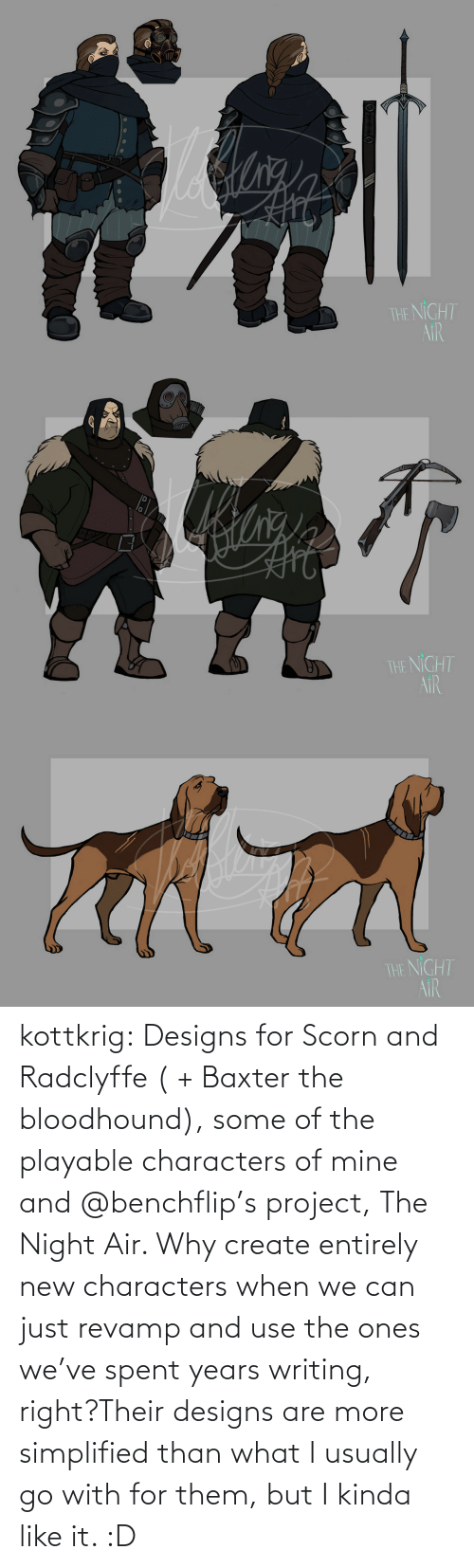 mine: kottkrig:  Designs for Scorn and Radclyffe ( + Baxter the bloodhound), some of the playable characters of mine and @benchflip's project, The Night Air. Why create entirely new characters when we can just revamp and use the ones we've spent years writing, right?Their designs are more simplified than what I usually go with for them, but I kinda like it. :D