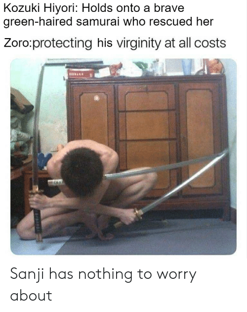 Samurai, Brave, and Virginity: Kozuki Hiyori: Holds onto a brave  green-haired samurai who rescued her  Zoro:protecting his virginity at all costs Sanji has nothing to worry about
