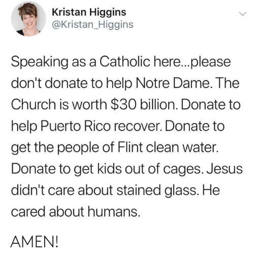Church, Jesus, and Memes: Kristan Higgins  @Kristan_Higgins  Speaking as a Catholic here..please  don't donate to help Notre Dame. The  Church is worth $30 billion. Donate to  help Puerto Rico recover. Donate to  get the people of Flint clean water.  Donate to get kids out of cages. Jesus  didn't care about stained glass. He  cared about humans. AMEN!