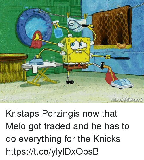 Kristaps Porzingis: Kristaps Porzingis now that Melo got traded and he has to do everything for the Knicks https://t.co/ylylDxObsB