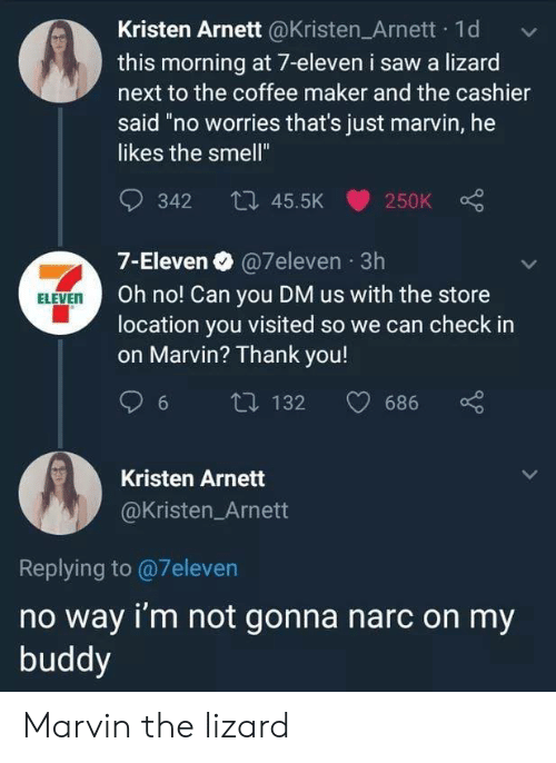 "Kristen: Kristen Arnett @Kristen Arnett 1d  this morning at 7-eleven i saw a lizard  next to the coffee maker and the cashier  said ""no worries that's just marvin, he  likes the smell""  342 45.5K  250K  7-Eleven @7eleven 3h  Oh no! Can you DM us with the store  location you visited so we can check in  on Marvin? Thank you!  ELEVEN  132  686  6  Kristen Arnett  @Kristen_Arnett  Replying to@7eleven  no way i'm not gonna narc on my  buddy Marvin the lizard"