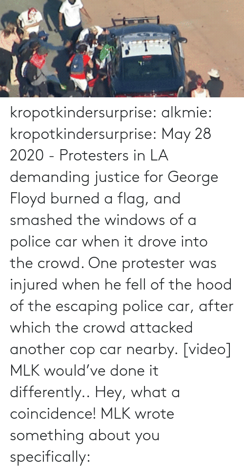 Hood: kropotkindersurprise:  alkmie: kropotkindersurprise: May 28 2020 - Protesters in LA demanding justice for George Floyd burned a flag, and smashed the windows of a police car when it drove into the crowd. One protester was injured when he fell of the hood of the escaping police car, after which the crowd attacked another cop car nearby. [video]   MLK would've done it differently..  Hey, what a coincidence! MLK wrote something about you specifically: