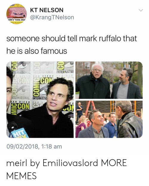 """Mark Ruffalo: KT NELSON  @KrangTNelson  ORK'S """"cOOL DAD  someone should tell mark ruffalo that  he is also famous  INTERNATIO  CO  CO  ERNATIONAL  TERNATIO  09/02/2018, 1:18 am meirl by Emiliovaslord MORE MEMES"""