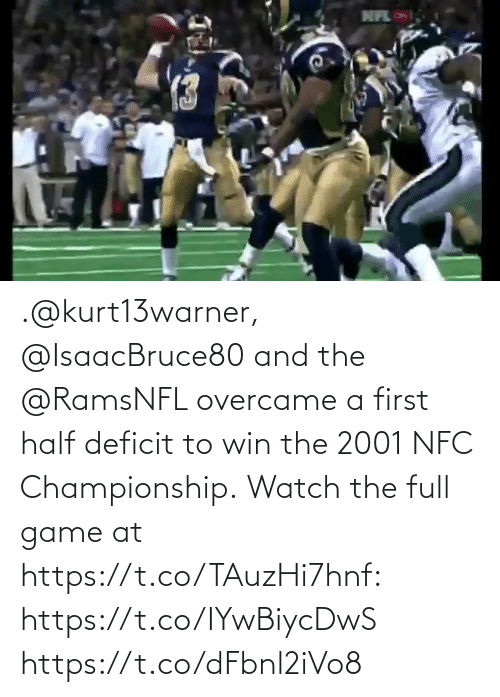 Championship: .@kurt13warner, @IsaacBruce80 and the @RamsNFL overcame a first half deficit to win the 2001 NFC Championship.  Watch the full game at https://t.co/TAuzHi7hnf: https://t.co/IYwBiycDwS https://t.co/dFbnl2iVo8