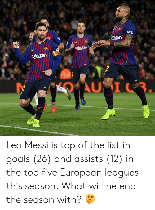 leagues: kuten  akuten Leo Messi is top of the list in goals (26) and assists (12) in the top five European leagues this season.  What will he end the season with? 🤔